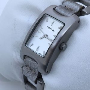 Fossil Ladies Watch Silver Tone Leather Steel Band
